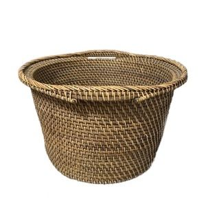 Other - Large Round Indonesian Woven Rattan Basket